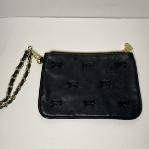Betsy Johnson black hand bag with little bows